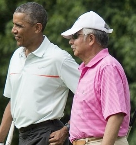 Najib playing a round of golf with Obama (Pic from Malaysia-Chronicle)